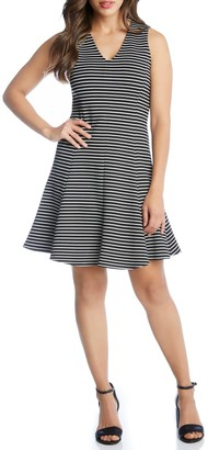 Karen Kane Stripe Fit & Flare Dress
