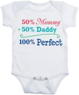 50% Mommy + 50% Daddy = 100% Perfect Baby Onesie - By Ganz