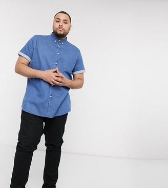 ASOS DESIGN Plus stretch slim organic denim shirt in mid wash