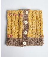 Grace Hats mustard marled cable knti 'Priscilla' button neck warmer