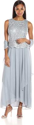 Alex Evenings Women's Long Sleeveless Lace Dress with Shawl