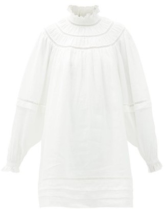 Etoile Isabel Marant Adenia Balloon-sleeve Linen Mini Dress - Womens - White