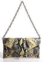 Sondra Roberts Multicolor Embossed Leather Snakeskin Print Clutch Handbag