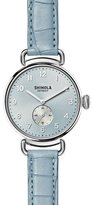 Shinola The Canfield 38mm Watch w/Alligator Strap, Light Blue