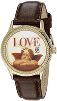"Mother of Pearl The P.S. Collection by Arjang and Co. Women's PS-1002G-DB ""Love Cupid"" Gold Colored Dial Brown Leather Strap Watch"