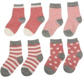 Generic 4 Pairs Baby Toddler Boys Girls Kids Cotton Socks Stripe Polka Dot Hosiery