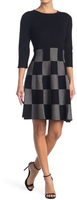T Tahari Plaid Skirt Printed Sweater Dress