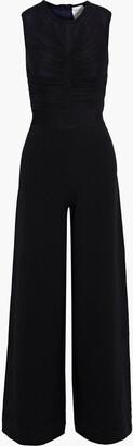 Herve Leger Ruched Tulle-paneled Cady Wide-leg Jumpsuit