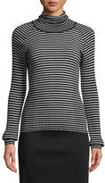 Piazza Sempione Turtleneck Long-Sleeve Striped Ribbed Sweater
