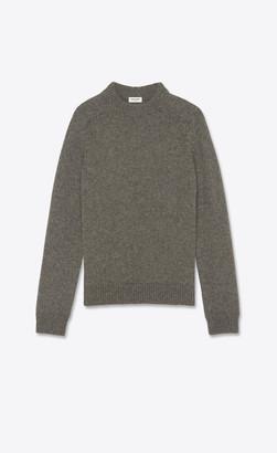 Saint Laurent Round-neck Wool Sweater Anthracite L