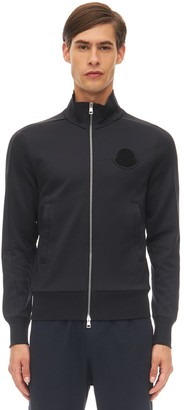 Moncler High Collar Logo Patch Zip-Up Sweatshirt