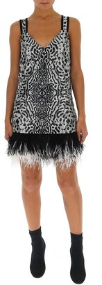Proenza Schouler Feather Trim Leopard Print Mini Dress