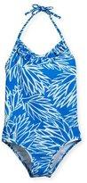 Milly Minis Blue Lotus Ruffled Halter One-Piece Swimsuit, Blue/Orange, Size 4-7