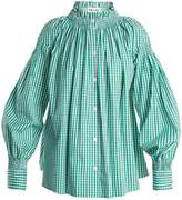 TEIJA Smocked-neck gingham shirt