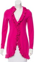 Magaschoni Ruffle-Accented Open Front Cardigan