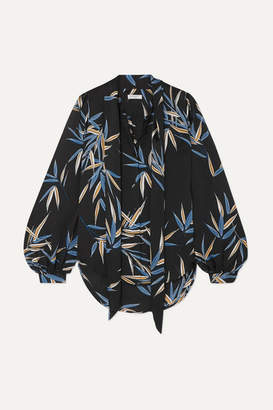 Equipment Cleone Pussy-bow Printed Satin Blouse - Black