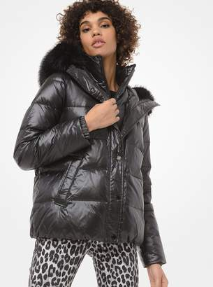 MICHAEL Michael Kors Faux Fur-Trim Cropped Puffer Jacket