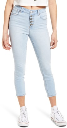 1822 Denim High Waist Button Fly Crop Skinny Jeans