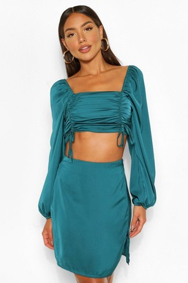 boohoo Satin Ruched Top and Split Hem Skirt Co-ord