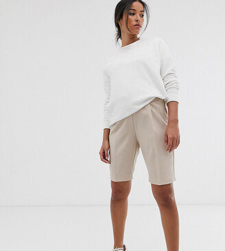 Asos DESIGN Maternity city shorts-Stone