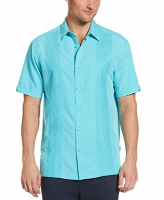 Cubavera Men's Tonal Geo Embroidered Panel Short Sleeve Button-Down Shirt