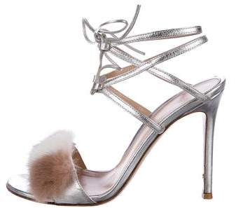 Gianvito Rossi Fur-Accented Metallic Sandals