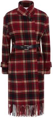 Claudie Pierlot Belted Tartan Check Jacket