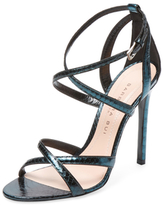 Barbara Bui Metallic Strappy Python Embossed Leather Sandal