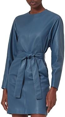 Equipment Gerarda Belted Leather Mini Dress