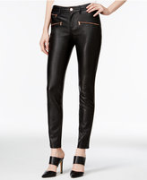 Armani Exchange Faux-Leather Zip-Pocket Pants