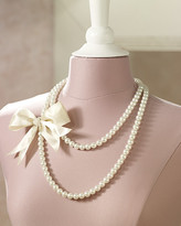 Faux-Pearl & Bow Necklace