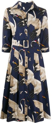 Samantha Sung Graphic Print Shirt Dress