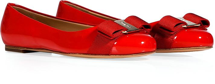 Salvatore Ferragamo Lava Orange Patent Leather Varina Ballerinas