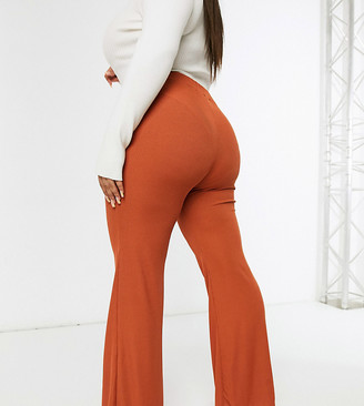 Club L London Plus wide leg pants two-piece in rust