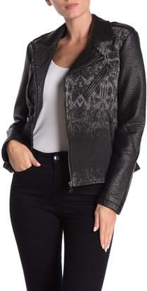 Desigual Front Zip Biker Faux Leather Jacket