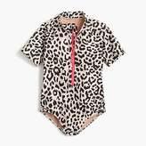 J.Crew Girls' short-sleeve one-piece swimsuit in leopard