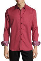 Robert Graham Lazzaro Tonal Jacquard Sport Shirt, Burgundy