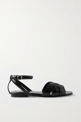 Saint Laurent Tribute Croc-effect Leather Sandals - Black