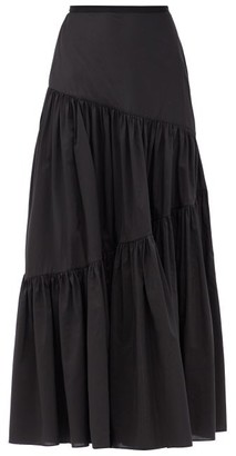 Matteau Asymmetric High-rise Cotton-poplin Skirt - Black