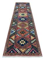 """3.1 Phillip Lim One-of-a-Kind Garnavillo Southwestern Hand-Knotted Runner 3'1"""" x 12'3"""" Red/Blue Area Rug Isabelline"""