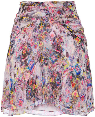 IRO Orchus Layered Printed Silk-georgette Mini Skirt