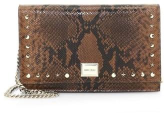 Jimmy Choo Lizzie Snakeskin-Embossed Leather Clutch