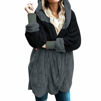 Andouy Women's Oversized Open Front Casual Hooded Draped Pockets Cardigan Sweaters Coat Black