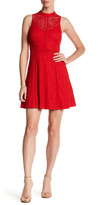 GUESS Halter Mock Neck Lace Dress