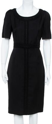 Valentino Black Silk Wool Tonal Lace Trim Sheath Dress L