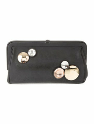 Bottega Veneta Embellished Leather Clutch Black