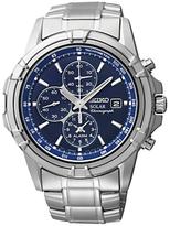 Seiko Ssc141p1 Solar Chronograph Stainless Steel Bracelet Strap Watch, Silver/blue