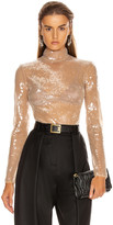 David Koma Sequins Bodysuit in Beige | FWRD