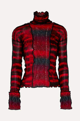 Asai - Hotwok Paneled Tie-dyed Cable-knit Wool And Mesh Turtleneck Top - Red