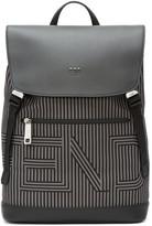 Fendi Black and Grey Striped Logo Backpack
